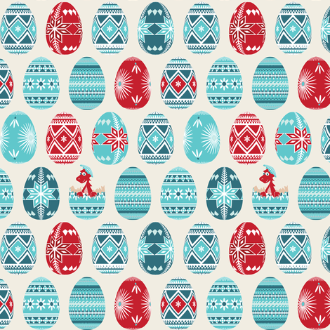Pysanky Dinosaur fabric by ebygomm on Spoonflower - custom fabric