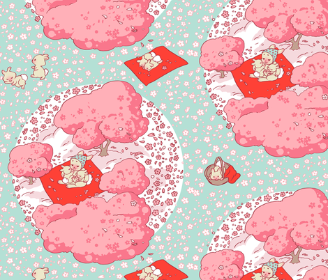 Baby Bunny Hanami Trees fabric by aimee on Spoonflower - custom fabric