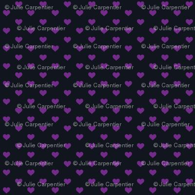 Hearts Purple on Black XS