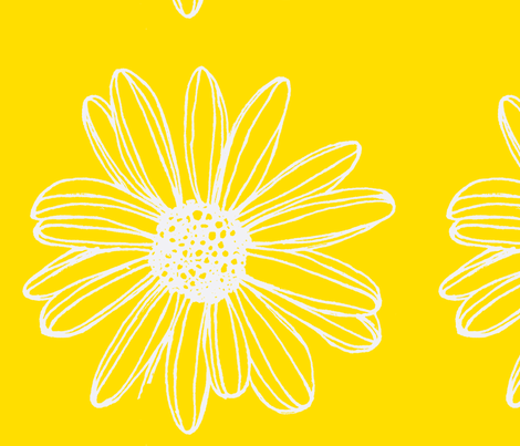 Daisy Fabric Yellow fabric by artthatmoves on Spoonflower - custom fabric