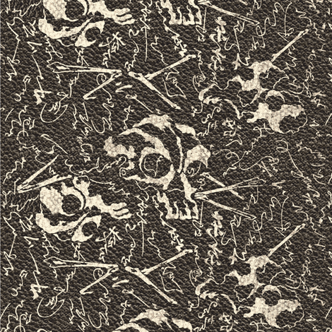 Dem dry bones, charcoal & ivory leather fabric by materialsgirl on Spoonflower - custom fabric