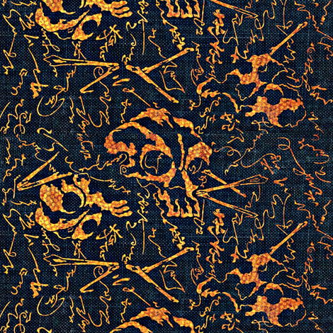 dem dry bones - black, orange, yellow, navy, Halloween fabric by materialsgirl on Spoonflower - custom fabric