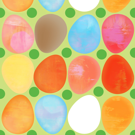Springtime Eggs fabric by owlandchickadee on Spoonflower - custom fabric