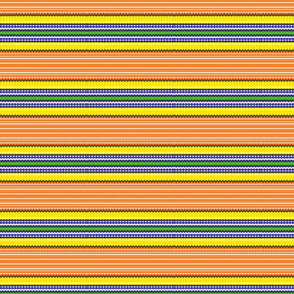 Blue and yellow stripes on orange