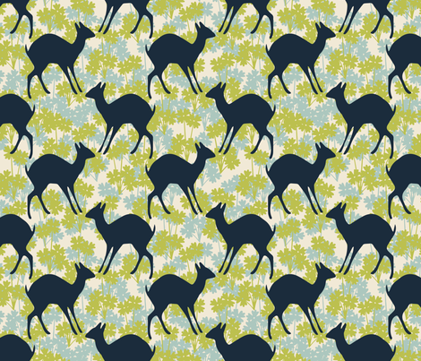 Deer green fabric by kathyjuriss on Spoonflower - custom fabric