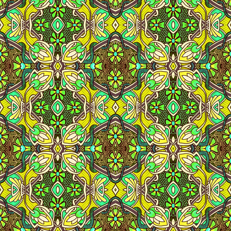 Retro Nouveau Bud and Bloom Patches (yellow) fabric by edsel2084 on Spoonflower - custom fabric