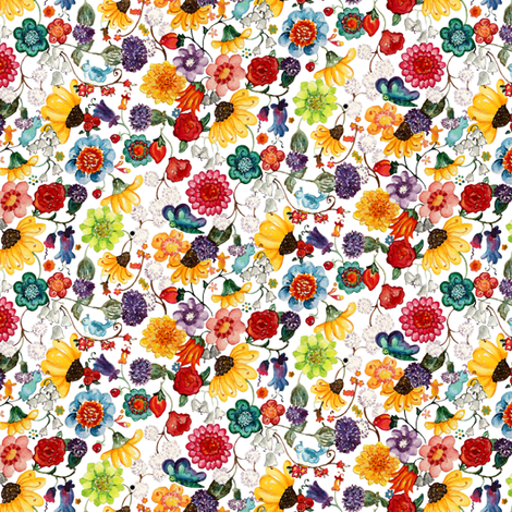 Watercolor Flowers white
