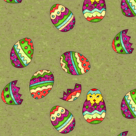Chick and eggs ready for Easter fabric by lucybaribeau on Spoonflower - custom fabric