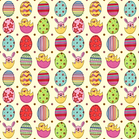 Happy Easter Eggs fabric by super_hoot on Spoonflower - custom fabric