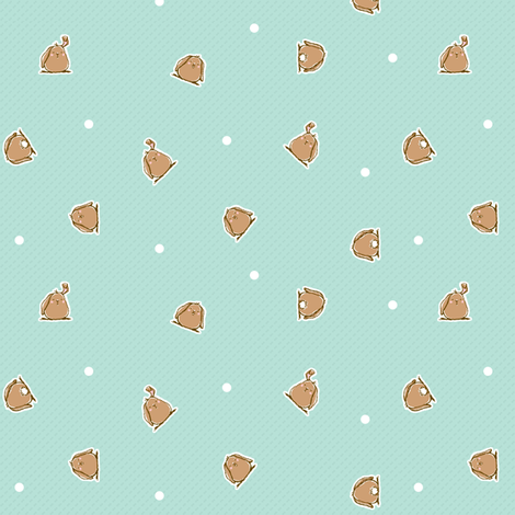 Bunnies BLUE fabric by puddlefoot on Spoonflower - custom fabric