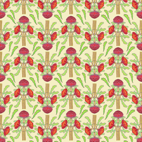 Spring waratahs on ivory fabric by su_g on Spoonflower - custom fabric