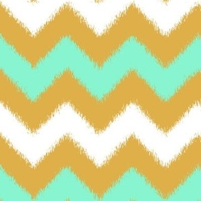 Mint and Gold Chevron Ikat