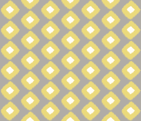 Ikat Trellis Grey Citron fabric by lulabelle on Spoonflower - custom fabric