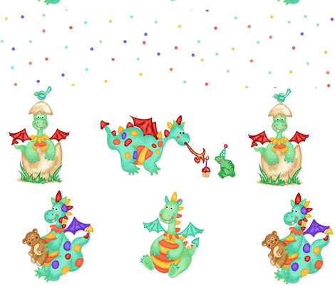 Baby Dragons Decals fabric by beebumble on Spoonflower - custom fabric