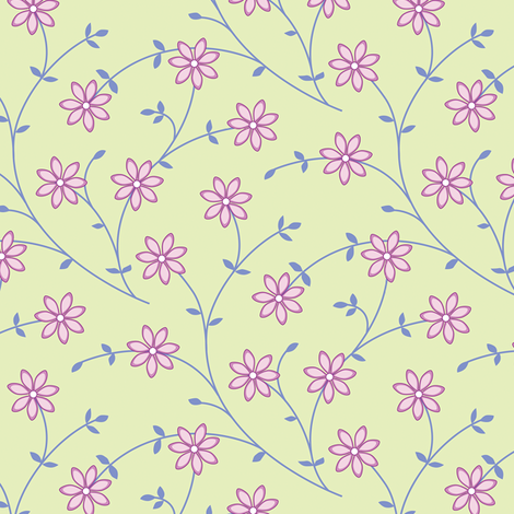 Daisy Vine green fabric by jillbyers on Spoonflower - custom fabric
