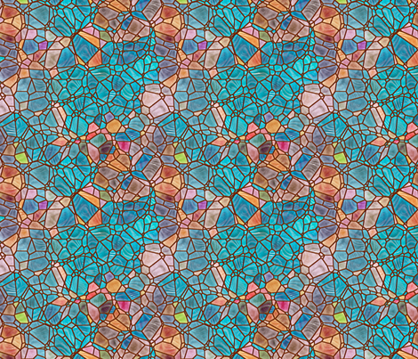 turquoise and gold fabric by kociara on Spoonflower - custom fabric