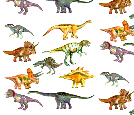 Dinosaur decals fabric by beebumble on Spoonflower - custom fabric