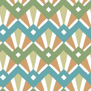 Deco Diamond Tiles in greens