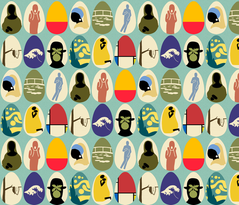 Eggs Painted by Famous Painters (Larger Repeat) fabric by mongiesama on Spoonflower - custom fabric