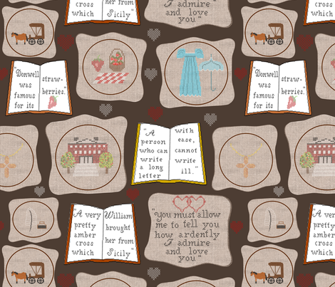 Cross stitch with Jane Austen fabric by loopy_canadian on Spoonflower - custom fabric