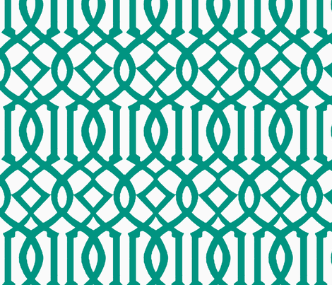 Imperial Trellis-Teal/White-Reverse-Large fabric by melberry on Spoonflower - custom fabric