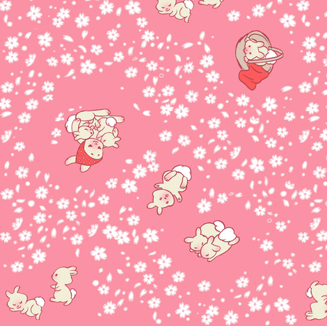 Baby Bunny Hanami fabric by aimee on Spoonflower - custom fabric