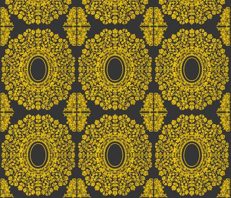 Lace Floral Medallion in Charcoal and Gold fabric by fridabarlow on Spoonflower - custom fabric