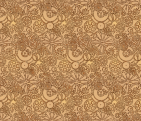 Geartrain--sepia fabric by artgarage on Spoonflower - custom fabric