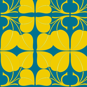 Art Nouveau13-blue/yellow