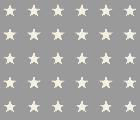 OffWhite Stars on Gray for Laura fabric by juliesfabrics on Spoonflower - custom fabric