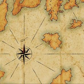 """Treasure Islands Vintage Map 12""""x12"""""""