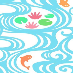 water, lilies & fish