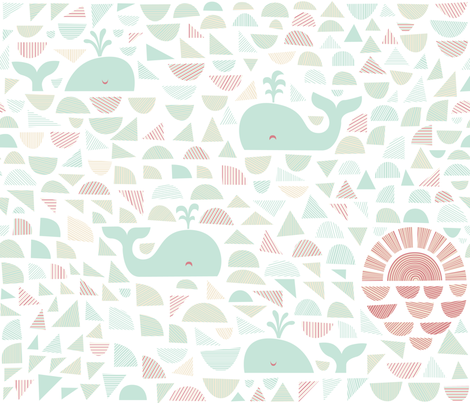4 whales and a sunrise fabric by dennisthebadger on Spoonflower - custom fabric