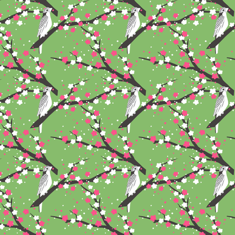 Chariklo Birds - Green fabric by siya on Spoonflower - custom fabric