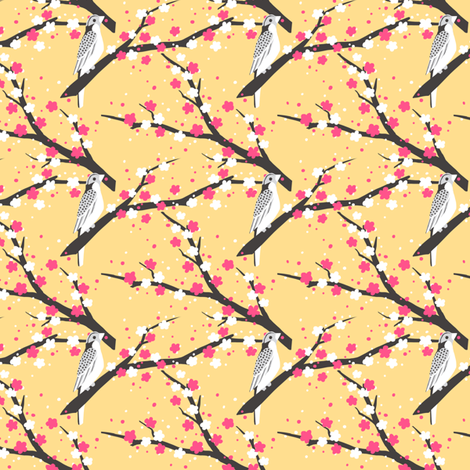 Chariklo Birds - Yellow fabric by siya on Spoonflower - custom fabric