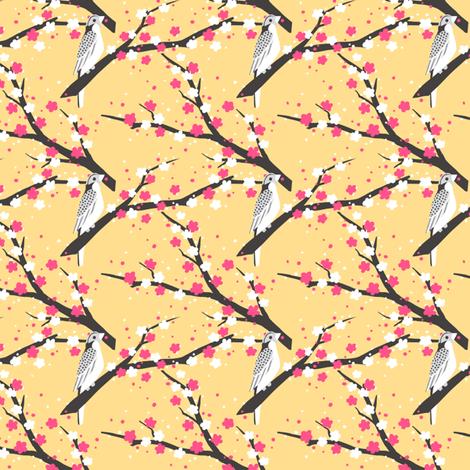 Chariklo Birds - Yellow fabric by siya on Spoonflower - custom fabric