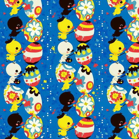 Little Chicks painting an Easter Egg fabric by irrimiri on Spoonflower - custom fabric