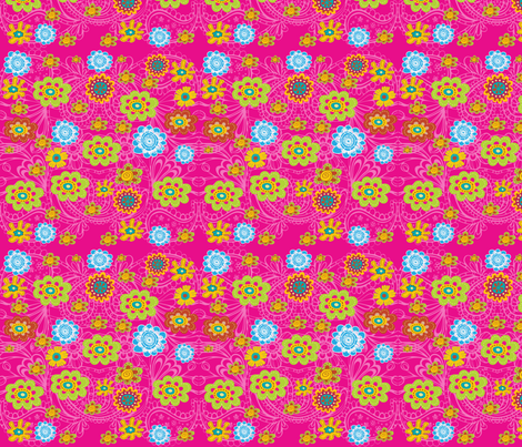 SHOCKING PINK FLOWER TOSS fabric by deeniespoonflower on Spoonflower - custom fabric