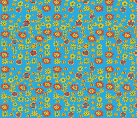 ROBINS EGG BLUE FLOWER TOSS fabric by deeniespoonflower on Spoonflower - custom fabric