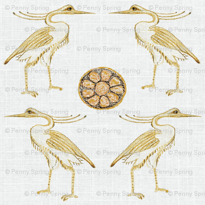 Egyptian Herons with earth toned Lotus and linen background