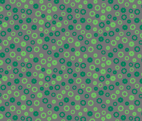 Robot Gears (Green) fabric by robyriker on Spoonflower - custom fabric