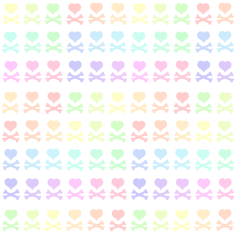 Heartskulls! - Pastel Rainbows  - © PinkSodaPop 4ComputerHeaven.com fabric by pinksodapop on Spoonflower - custom fabric