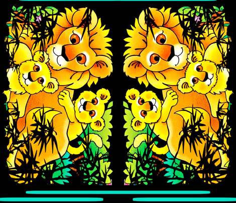 Lion Daddy and his Frisky Cubs fabric by whimzwhirled on Spoonflower - custom fabric