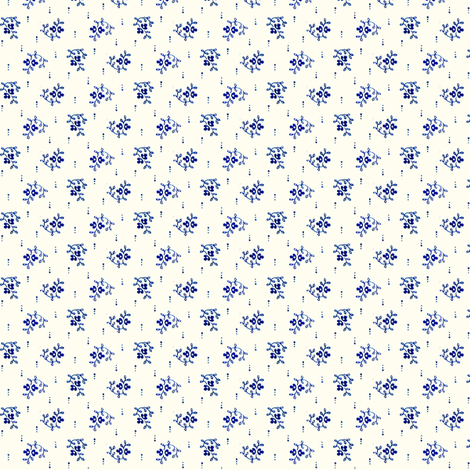 Indigo Sprigs on cream fabric by the_cornish_crone on Spoonflower - custom fabric