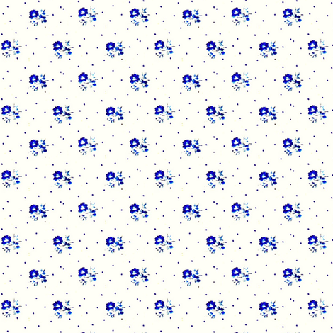 Tiny blue flowers fabric by the_cornish_crone on Spoonflower - custom fabric