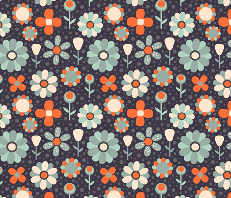 floral pattern fabric by khandisha on Spoonflower - custom fabric