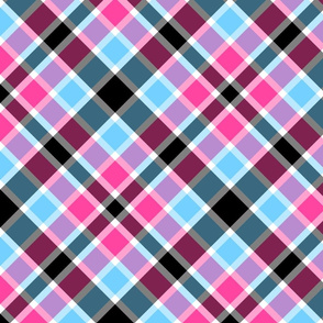 Diagonal pink and blue tartan