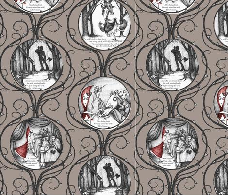 Little Red Riding Hood - warm grey fabric by thecalvarium on Spoonflower - custom fabric