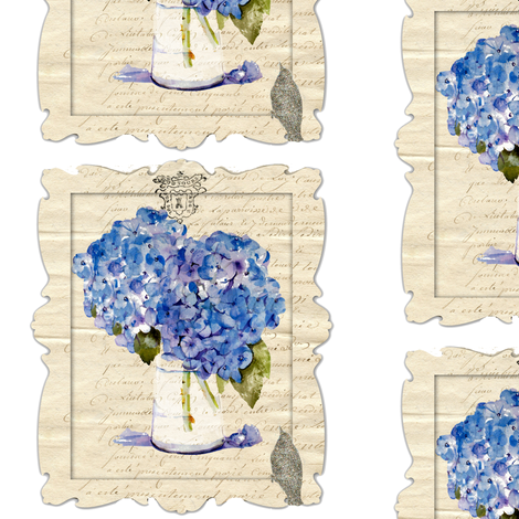 French Hydrangeas and Glitter Bird fabric by karenharveycox on Spoonflower - custom fabric