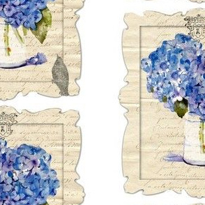 French Hydrangeas and Glitter Bird